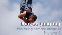 Bunjee Jumping : free fall from the bridge of Bhotekoshi